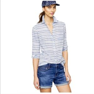 J. Crew Factory Tops - J. Crew Blue White Boyfriend Shirt Size Large